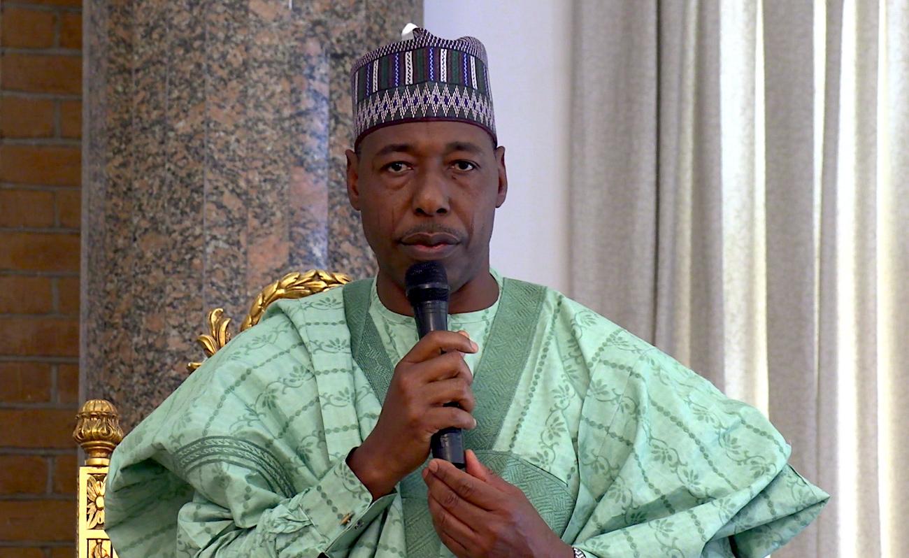 Babagana Umara Zulum, the Govorner of the Borno state, addresses the public in Maiduguri in February, 2020.