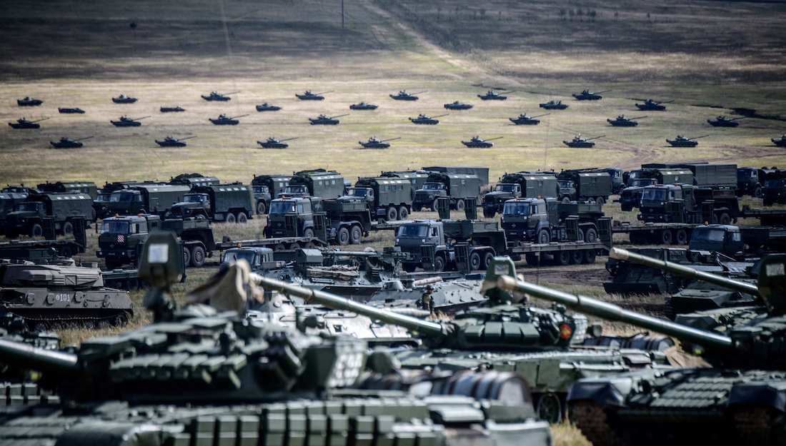 Military vehicles are seen during the Vostok-2018 (East-2018) military drills