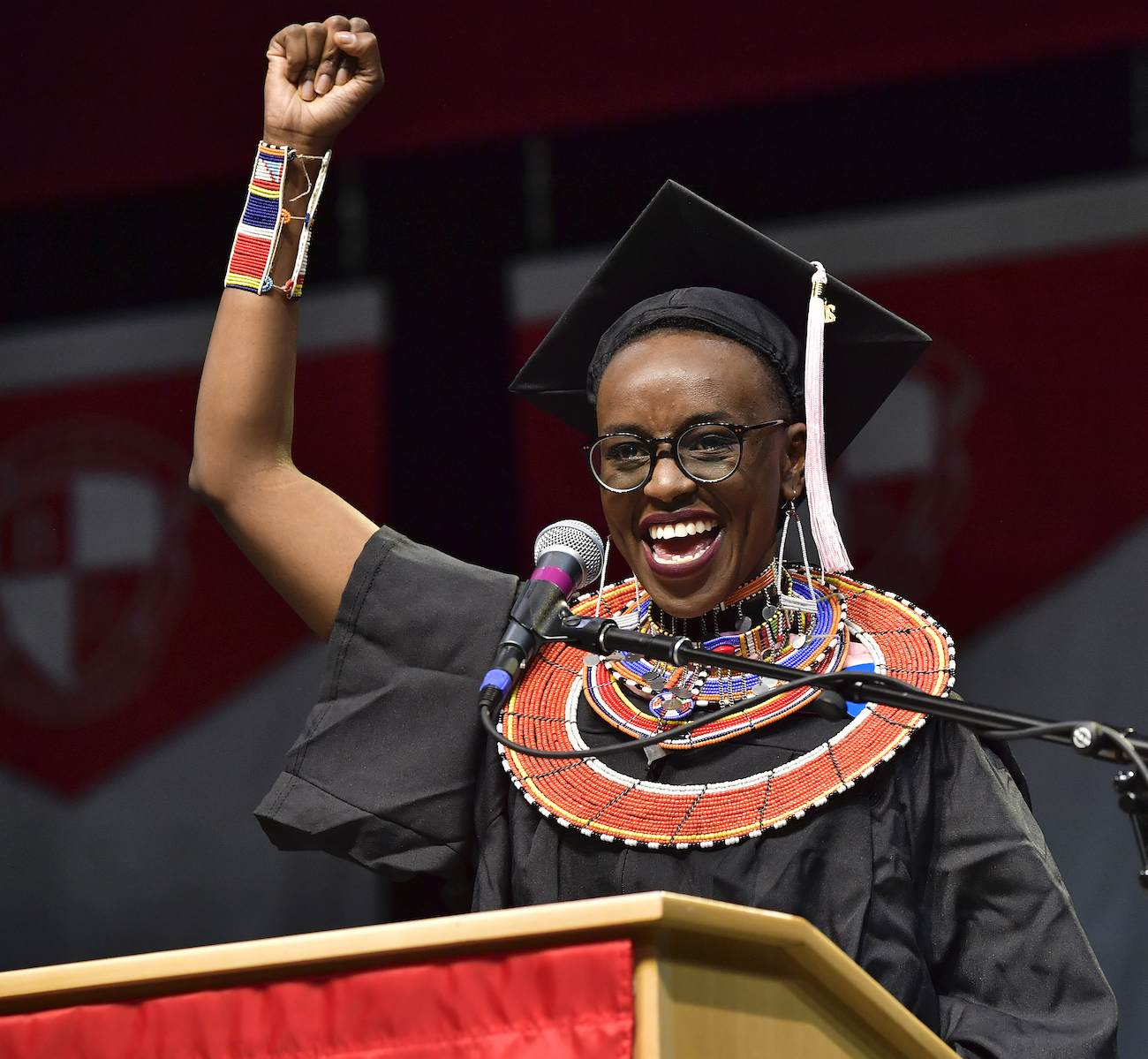 Berklee student Beth Njoki Mwangi of Kenya delivers the student address at the Berklee College of Music 2018 Commencement day ceremony. | Paul Marotta/Getty Images