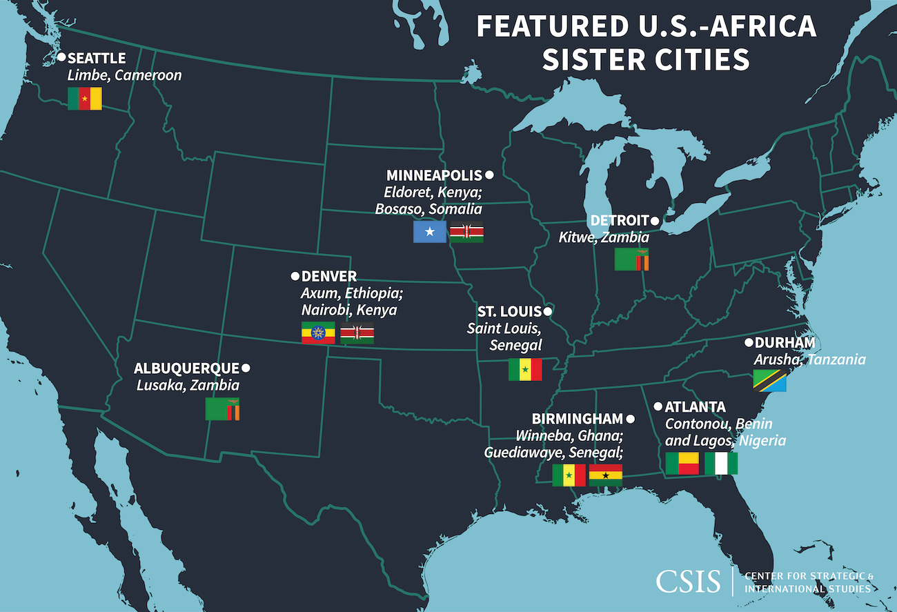 A map showing featured U.S. cities and their sister cities in Africa. | CSIS
