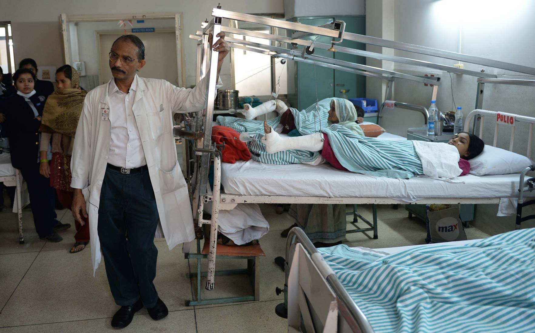 Indian polio patients undergoing treatment at a hospital in New Delhi
