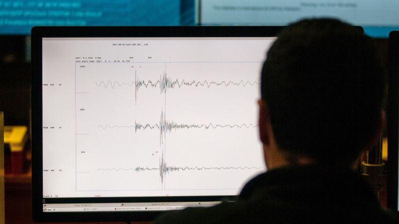 A technician of the National Seismological Center (CSN) of the University of Chile, organization in charge of monitoring the seismic activity in the Chilean territory, works in Santiago.